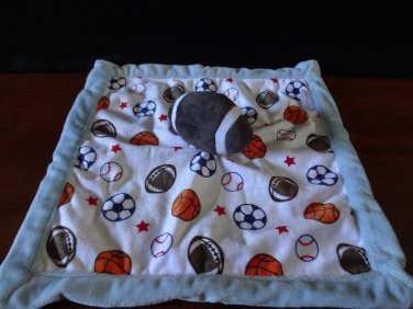 "Carter's Baby Boy Plush Security Blanket Football Sports Theme Blue Lovey 14"""