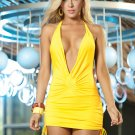 Yellow Sassy Halter Mini Dress-Summer Dresses