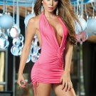 Pink Sassy Halter Mini Dress-Summer Dresses