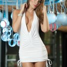 White Sassy Halter Mini Dress-Summer Dresses