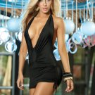 Black Sassy Halter Mini Dress-Summer Dresses