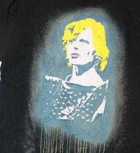 David Bowie rare artful screen printed t-shirt M-L black bleached