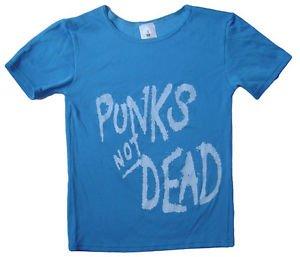 Punk's Not Dead album, Exploited band stretch t-shirt women's M-L Blue
