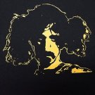 Frank Zappa in Pigtails ***MEDIUM*** t-shirt Yellow on Black punk retro