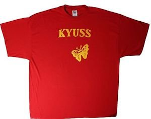 Kyuss band logo ***2XL*** screen printed t-shirt Yellow on Red punk retro