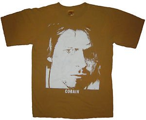 Kurt Cobain Nirvana band ***SMALL*** Brown t-shirt screen printed punk retro