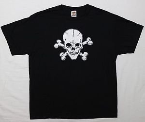 Skull & Bones Gothic ***LARGE*** screen printed t-shirt Black goth