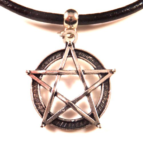 3mm Black Leather Choker Necklace With a Pentagram Charm Pendant