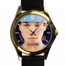 cool taylor caniff leather gold Wristwatches