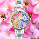 cute little pony friendship is magic round charm watches stainless steel