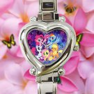 cute little pony friendship is magic galaxy nebula heart charm watches stainless steel