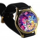 cool little pony friendship is magic galaxy nebula leather gold Wristwatches
