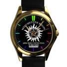 cool supernatural winchester bros logo leather gold Wristwatches