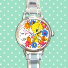cute tweety bird flower round charm watches stainless steel