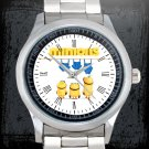 cool minions kevin bob and stuart first denim Stainless Steel Wristwatches