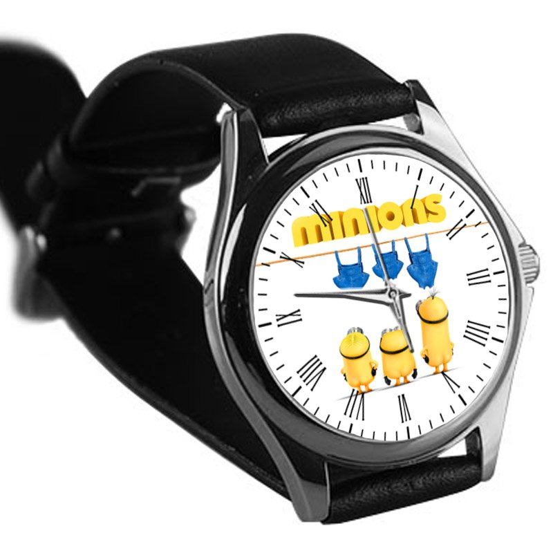 cool minions kevin bob and stuart first denim leather silver Wristwatches