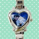 cute once upon a time captain hook heart charm watches stainless steel