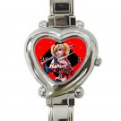cute harley quinn batman heart charm watches stainless steel
