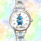 cute smurf gutsy round charm watches stainless steel