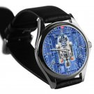cool star wars r2d2 blueprint leather silver Wristwatches