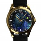 cool dr who police call box tardis nebula leather gold Wristwatches