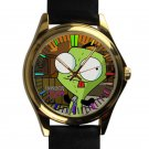 cool Gir Invader Zim Doom tacos leather gold Wristwatches