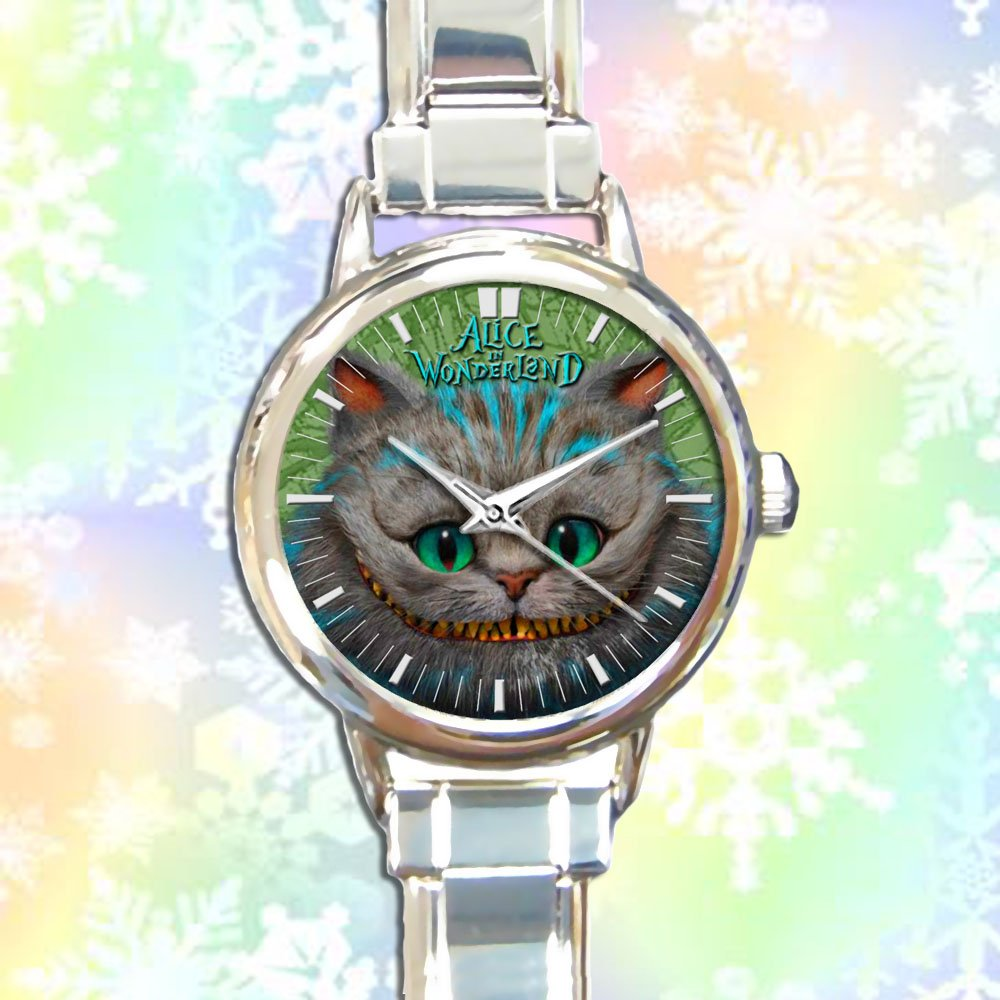 cute alice in wonderland cheshire round charm watches stainless steel