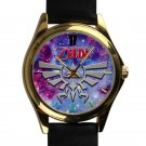 cool The legend of zelda triforce logo silver pattern leather gold Wristwatches