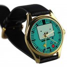 cool adventure time finn & jake Beemo Bmo leather gold Wristwatches