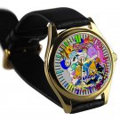 cool adventure time finn & jake characters leather gold Wristwatches
