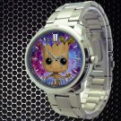 cool i am groot baby face cute galaxy nebula Stainless Steel Wristwatches