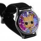 cool i am groot baby face cute galaxy nebula silver pattern leather silver Wristwatches