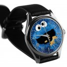 cool cookie monster silver pattern leather silver Wristwatches