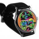 cool FLATBUSH ZOMBIES juice silver pattern leather silver Wristwatches