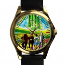 cool The Wizard of Oz dorothy return Scarecrow leather gold Wristwatches