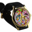 cool sailor moon mars jupiter venus crystal leather gold Wristwatches