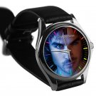 cool ian somerhalder vampire diaries damon salvatore silver pattern leather silver Wristwatches