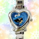 cute cookie monster heart charm watches stainless steel