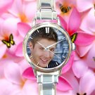 cute JENSEN ACKLES smile supernatural round charm watches stainless steel