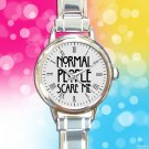 cute american horror story normal people scare me round charm watches stainless steel
