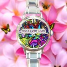 cute Never shout never indie band logo round charm watches stainless steel