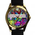 cool Never shout never indie band logo leather gold Wristwatches