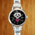 cute Donut Cop Panda round charm watches stainless steel