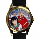 cool Chibi Inuyasha Kagome Anime cartoon leather gold Wristwatches