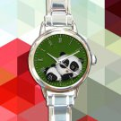 cute baby panda round charm watches stainless steel