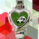 cute baby panda hearts logo heart charm watches stainless steel