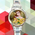 cute beauty and the beast princess belle round charm watches stainless steel
