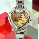 cute beauty and the beast princess belle hearts logo heart charm watches stainless steel