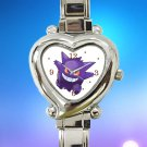 cute pokemon gengar mega hearts logo heart charm watches stainless steel