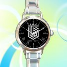cute topp dogg logo hansol xero round charm watches stainless steel